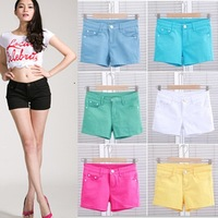 fashion Woman brand candy color denim shorts slim fit casual  jeans shorts  Drop shipping,free ship W094
