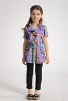 2013 hot sale new summer violet short sleeves lotus leaf collar long shirt with blue leather belt for girl