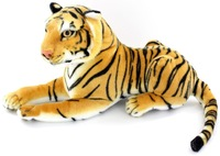 2PCS 5% OFF,Free Shipping,Plush And Stuffed Life-Like Toy Tiger, Lying Posture Artificial Animal,Brown And White Color,35cm,1pc