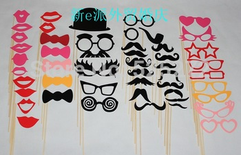 50pcs Photo Booth Props Hat Mustache On A Stick Wedding Birthday party fun favor Free shipping