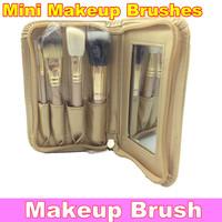 Professional Mini 4Pcs Makeup Brushes Pouch Brush Golden Set + Free shipping