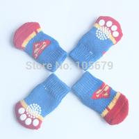 PS031 Fashion Superman Design Dog Socks Pet Cat Socks Cotton Material Dog Pet Cat Shoes 1 set