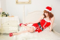 new arrival sexy sleeveless christmas party dress fancy santa claus suit set with widen black belt cap waitress uniform