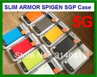 100pcs DHL Free Shipping New Arrival SLIM ARMOR SPIGEN SGP case for iPhone 5 5S with Retail Box + Home Button + Screen Protector