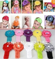 10 Pcs Daisy Flower Kid Baby Girl Headband Hairbow Headwear Hairband  Hair Flower Clip,Infant Knitting Hair Accessiries