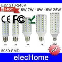 5050 SMD LED Bulbs Lamp 5w 7w 10w 15w 25w 30w E27 LED Corn Bulb Light  AC 210-240V 220V 230V 240V LED Corn Light Free shipping