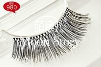 Free Shipping! New Pro natural human hair 100% Handmade False Eyelashes Natural Long style 980#, free glue 102#, dropshipping!