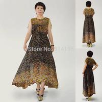 Free Shipping 2014 Summer Chiffon Long Dress Women Color block dresses S,M,L,XL Print High Quality Floor-Length