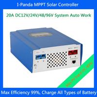 96V 20A  MPPT  solar charge controller, 12V 24V 48V 96V auto work, solar charger LiFePO4 Gel Vented ,Sealed,Gel,NiCd  LCD RS232