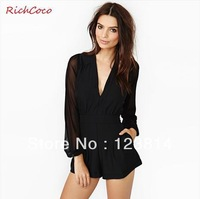 New 2013 Jumpsuit Women Long Sleeve Chiffon Gauze Patchwork Pocket High Waist  Autumn-Summer Bustiers Rompers Free Shipping D123