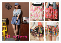 Korean Fashion Women chiffon Pleated Waisted Short Skirt Printed butterfly all match Free Shipping rt  83 candy colors