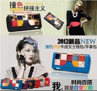 Hot, first layer of leather fashion lady purse, hit color stitching large purse, clutch wholesale, free shipping
