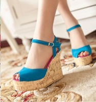 2013 spring new Korean version of the elegant slope with high heels shoes fish head waterproof suede heels shoes A163