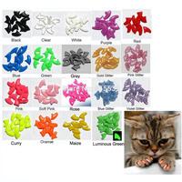 Lots 100pcs 14 Colors Soft Cat Pet Nail Caps Claw Control Paws off + 5pcs Adhesive Glue Size XS S M L Free Shipping