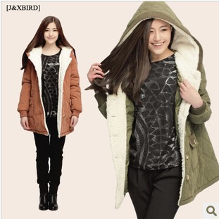 Hot sale! Free shipping 2013 new women winter hooded long section of thin large size cotton jacket Coat