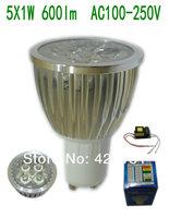 10Pcs/lot GU10 5W 5X1W  600lm Big Sliver Aluminum  Led Spotlight  AC100-250V