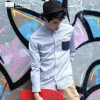 viishow2013 spring new wave of fashion shirt men cultivating long-sleeved shirt shirt pocket solid color fresh