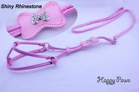 Rhinestone pet dog harness and leash set kit with Adjustable strap Pink, light blue & zebra-stripe Pet produt lead Free Shipping