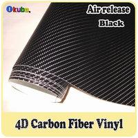 Wholesale  Black 4D Carbon Fiber Vinyl For Car Wrap FedEx FREE SHIPPING Size: 1.52*30m/Roll