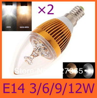 2pcs/lot Free shipping Dimmable E14 E27 E12 3W 6W 9W 12W LED Candle Light LED bulb lamp LED spot Light