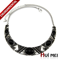 Free Shipping Vintage Women Silver Plated Ethnic Black Punk Acrylic Statement Choker Necklace Jewelry