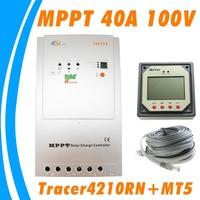 40A MPPT Solar Controller EPsolar Tracer4210RN 100V 12V 24V solar panel battery controller Remote meter MT-5 LCD MT5  EP solar