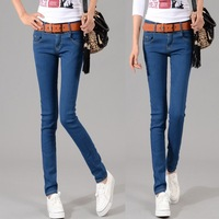 2013 new arrival fashion Casual Jeans woman Slim-fitting Pencil Pants Cotton Jeans Narrow leg stretch pants excluding belts