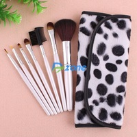 Fashion Special Black and White Dot Design 7 PCS Professional Cosmetic Brushes Set Makeup Brush With Case#23161