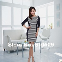 The office lady  dresses costumes accessories  striped slash neck style white/blue half sleeve  2014 new arrival free shipping