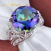 Free shipping - Fashion Rare Gorgeous Huge Fire Shiny Mystic Topaz 925 Silver Rings for Women Men