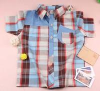 free shipping plaid brown cotton fashion kids boy shirt children blouse cotton shirt blouse clothing teen clothing lot pocket
