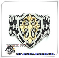 18K Gold Plated Cross Men's Huge Heavy Gold Knight Fleur De Lis Cross Stainless Steel Ring 8# - 13#,Free shipping,R#41
