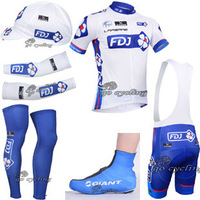 Free shipping, 2013 Cycling wear 6064: FdjCycling jersey +CYCLING BIBS SHORTS + Warmers+ caps + shoes covers.
