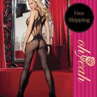 H3005 Popular big hole latex dress hot sale women bodysuit underwear bondage harness body stockings
