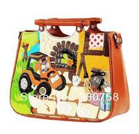 TB 2013 Happy Farm Duck Trackor Pattern Women Handbags Designers Brand Vintage Hard Wood Handle Casual Shoulder Big Tote Bags