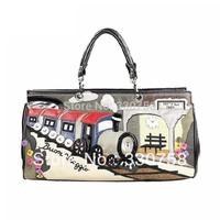 TB New 2013 Fashion Retro Train Station Pattern Women Handbags Female Bolsas Designers Brand One Shoulder Cross Body Bag