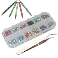 3000pcs 2mm 12 Color Nail Art Glitter Rhinestones Tips + 5 x 2 Way Marbleizing Dotting Pen + Tweezer Manicure Set