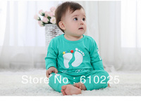 Wholesale(3 sets/lot) Kids Cotton Cartoon Foot Prints Long Sleeve Clothing Sets Kids Suits Children Clothes