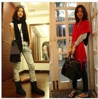 2014 Fashion NEW Winter Korea Women Multicolor Long Large Warm Soft Wrap Scarf Shawl Tassels