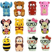 Hot !!! Kinds of Lovely 3D Cartoon Silicone Soft Case Cover Skin For iPod Touch 5 5G,Free Shipping,Case + protector