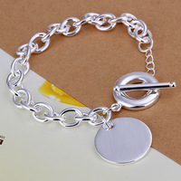Free Shipping Wholesale 925 Sterling Silver Bracelets & Bangles,925 Silver Fashion Jewelry,Round TAG Bracelet SMTH277
