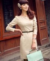 Free Shipping 2014 Autumn Women's Autumn Knitted one-Piece Dress Belt  1023