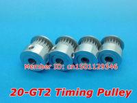 10pcs/lot Alumium 20 GT2 Timing pulley 20teeth Bore 5mm belt width 6mm