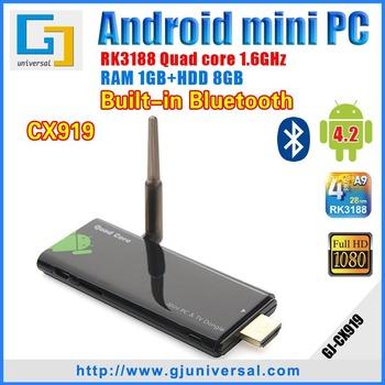 Original CX919 Quad Core Mini PC RK3188 TV Dongle 1.6GHZ 1GB RAM 8GB ROM Android 4 2 HDMI strong WiFi Bluetooth Freeshipping
