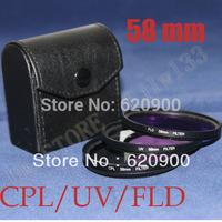 100% GUARANTEE  58mm 58 mm UV + FLD + CPL Lens Filter Protector for canon nikon pentax sony dslr camera