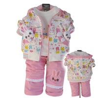 2013 New Infant baby clothes sets girls cartoon rabbit children clothing suit coat+t-shirt+pants kid wear autumn winter!