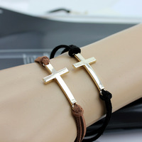 Wholesale Lots velvet like cross leather bracelet multicolor cheap trendy jewelry free shipping