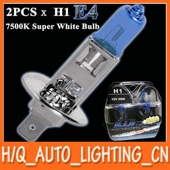 New 2pcs x H1 HID Xenon Halogen Lamp Super White Car Headlight Bulb 7500K 12V55W E4 Free Shipping