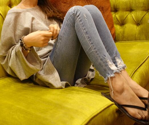 2014 primavera e l'estate stretto- Montaggio buco jeans femminile leggero colore skinny pants jeans- 004