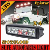Free DHL Shipping 4PCS 18W MINI LED Offroad Work Light Spot Flood 12V 24V For ATV SUV Mine Truck Cree led working light bar
